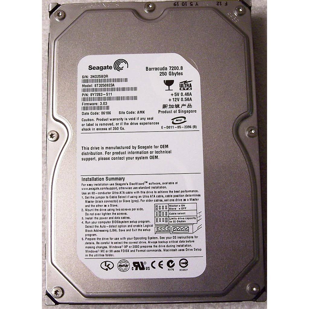 Seagate 250GB IDE 7200RPM Desktop Hard Disk|ST3250823ACE