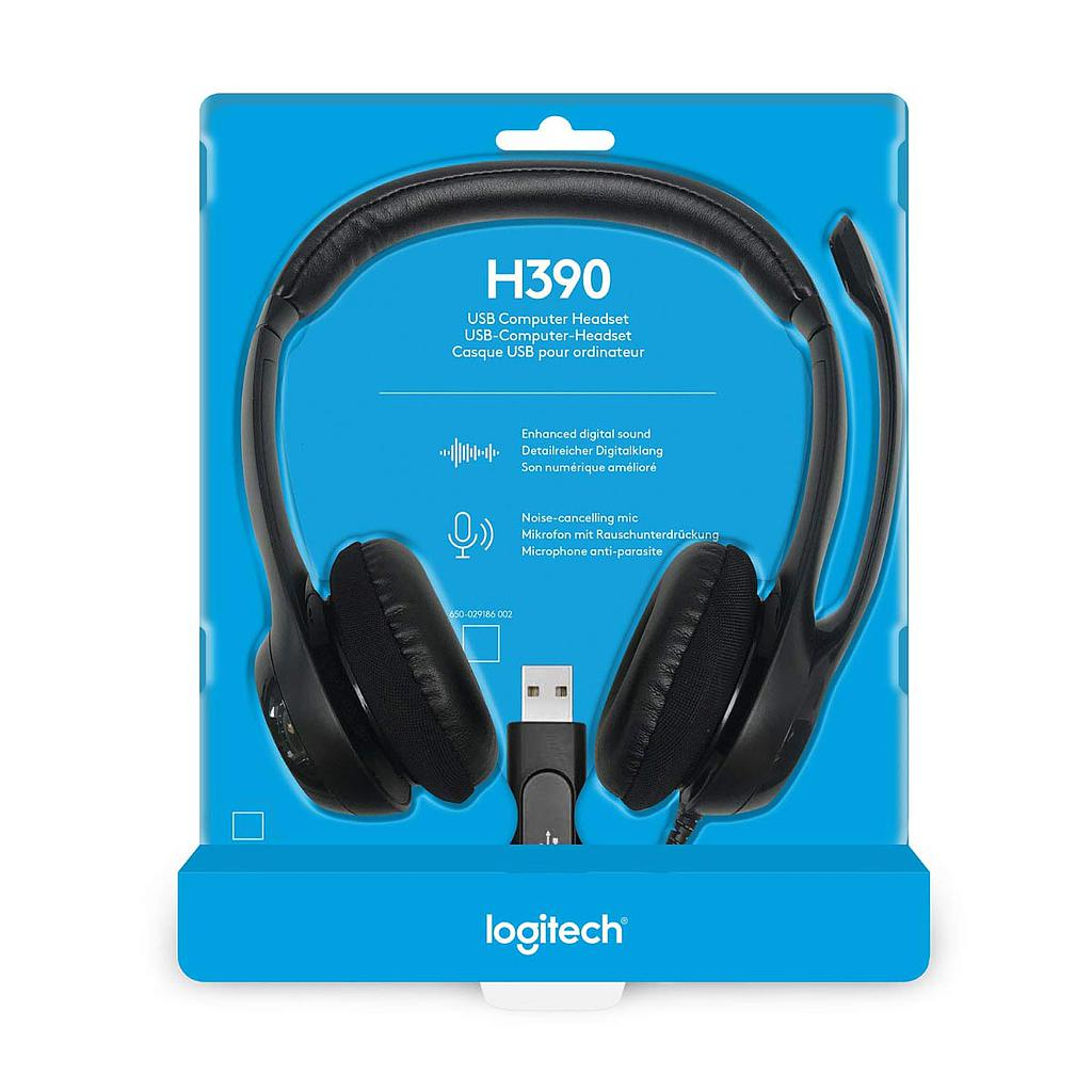 Logitech H390  Over The Head Wired Headphone|Black