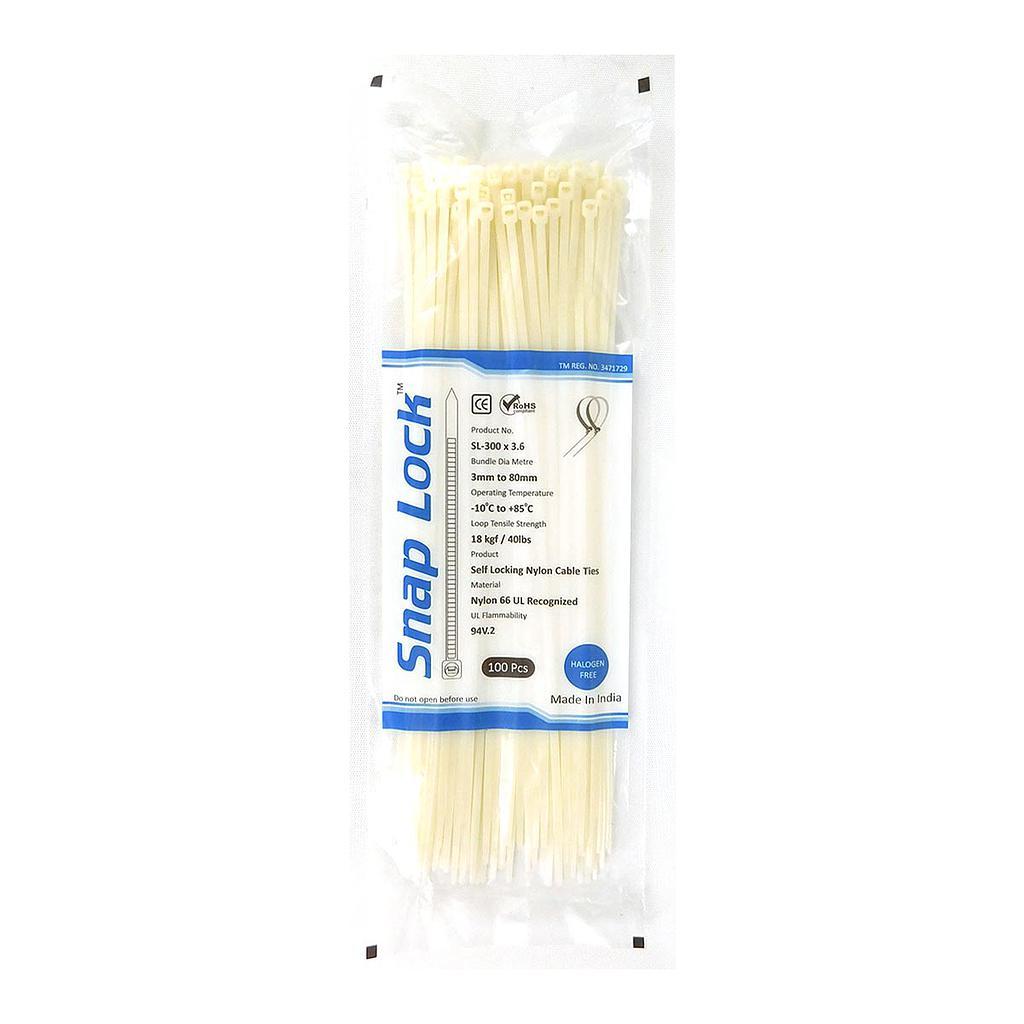 SnapLock 300MM Self Locking Nylon Cable Ties   100Pcs