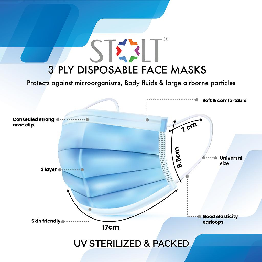 STOLT - 3 Ply Disposable Face Mask Pack of 25