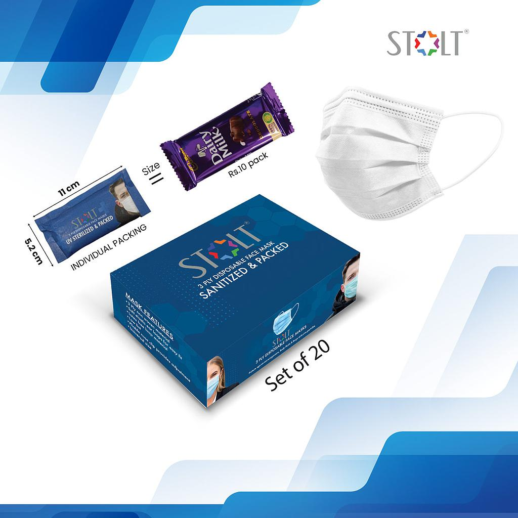 STOLT - 3 Ply Disposable Face Mask White Set of 20