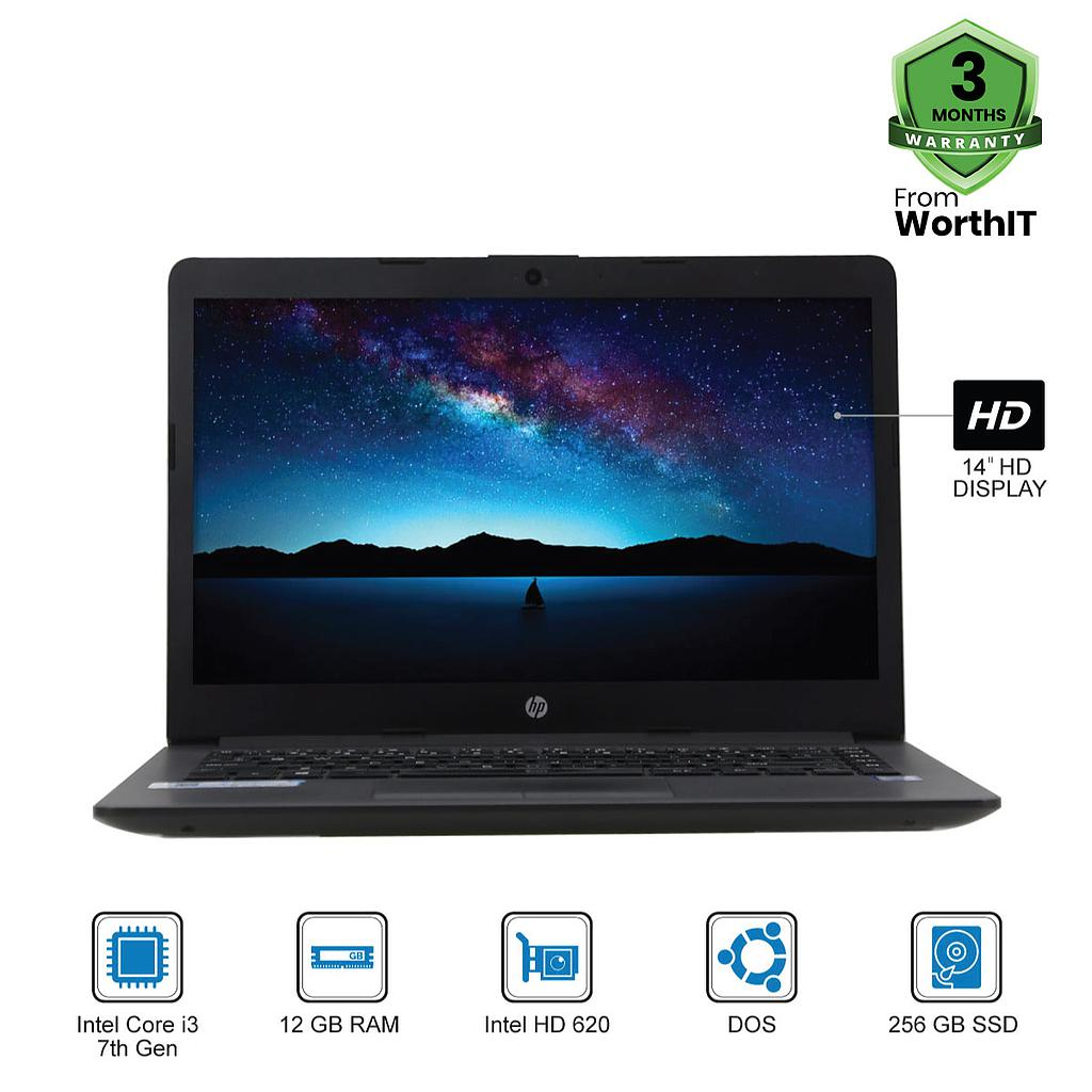 "HP Notebook 240 G7 Laptop : Intel Core i3-7th Gen|12GB|256GB|14""HD|DOS"