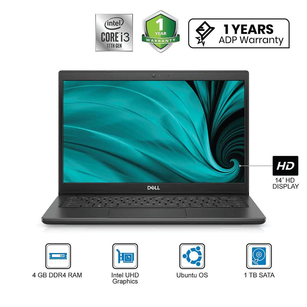 "Dell Latitude 3420 Laptop : Intel Core i3-11th Gen|4GB|1TB|14""HD|Ubuntu"