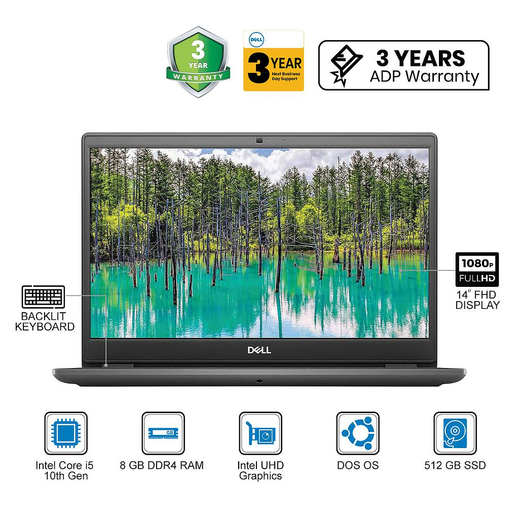 "Dell Latitude 3410 Laptop : Intel Core i5-10th Gen|8GB|512GB|14""FHD|DOS|3Yrs NBD&ADP"