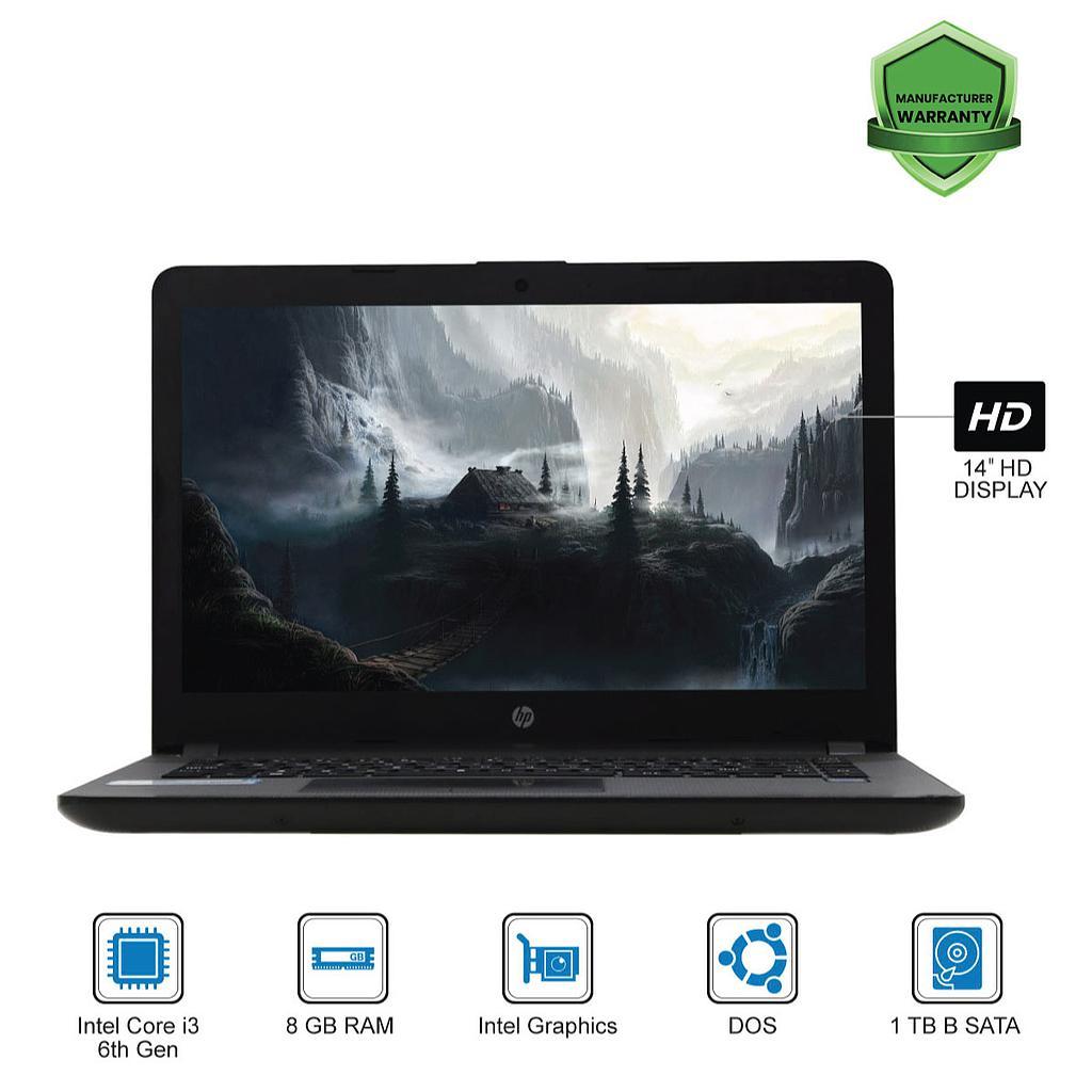 HP 240 G6 Laptop : Intel Core i3-6th Gen|8GB|1TB|14''HD|DOS
