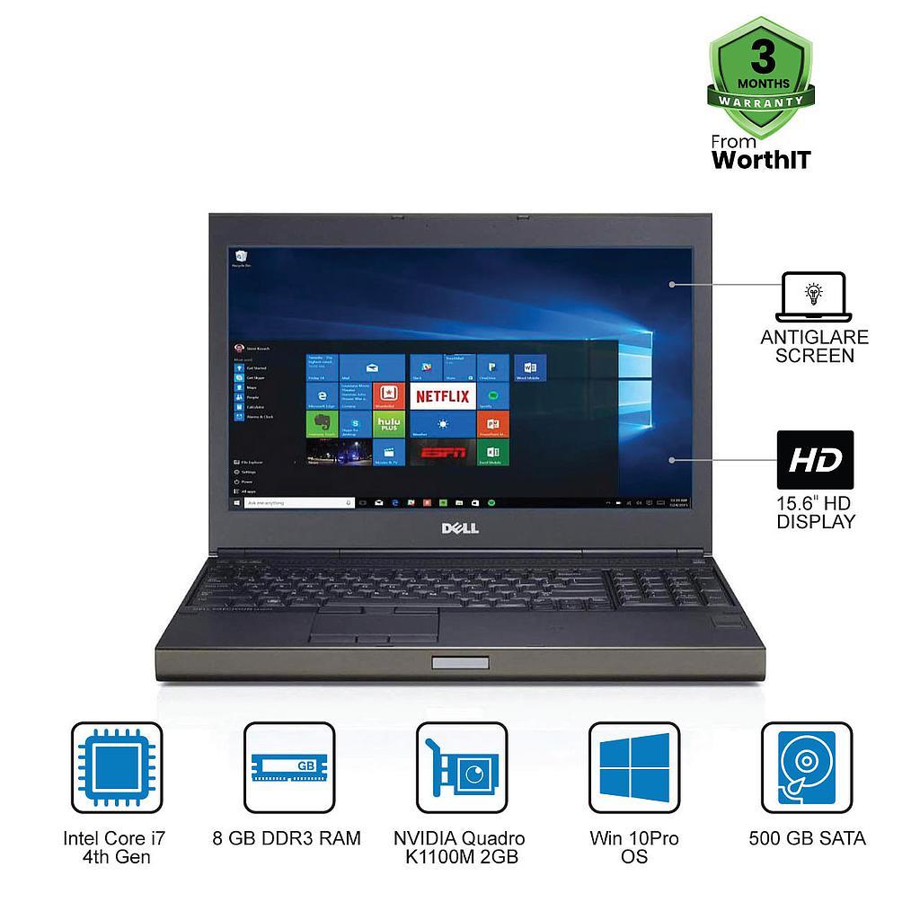 Dell Precision M4800 Laptop Workstation : Intel Core i7-4th Gen|8GB|500GB|2GB GC|15.6''HD|Win 10Pro